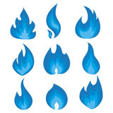 Vector set of blue flames. A collection of stylized fires. Abstract fire. Royalty Free Stock Photo