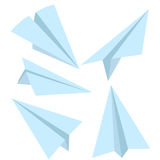 Vector Set of Blue Flat Paper Planes. Origami Airplanes. Vector Set of Blue Flat Paper Planes on White Background Royalty Free Stock Photography
