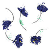 Vector set of blue flowers Royalty Free Stock Photography