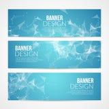 Vector set blue geometric polygonal banners. Technology modern business template. Stock Photos