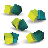 Vector set of blue and green 3d cubes structure. Vector set of blue and green 3d cubes structure, over white background Stock Image