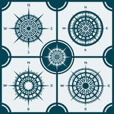 Set of isolated compass roses or wind roses Stock Image