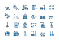 06 Blue linear GARDENING icons set. Vector set of 24 blue linear outline icons. Gardening harvesting isolated pictograms. Lawnmower, bucket,shovel, wheelbarrow Royalty Free Stock Images