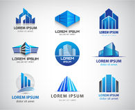 Vector set of blue, modern office, company. Buildings, skyscrapers logos, icons . Identity Stock Photo