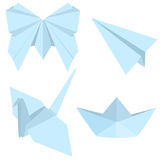 Vector Set of Blue Origami Objects: Plane, Boat, Butterfly, Crane. Stock Image