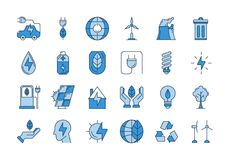 Blue outline ECO icons. Vector set of 24 blue outline icons. Ecology, eco system, future technology of saving resources and clean planet Stock Photography