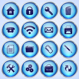 Vector Set of Blue Round Glass Buttons Stock Photo