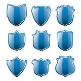 vector set of blue shields Stock Photography