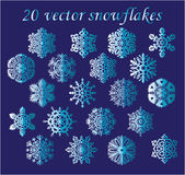 Vector set blue snowflakes on blue background Stock Image