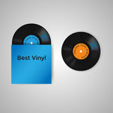 Vector set of blue vinyl cover and two vinyl records with blue and orange label stock illustration