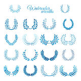 Vector set of blue watercolour wreaths. Nature wreaths isolated on white background Royalty Free Stock Photography