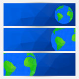 Vector set of blue world globe banners Stock Images