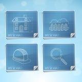 Vector Set: Blueprint Icons stock illustration