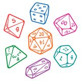Vector set of board game dices. Vector icon set of dice for fantasy dnd and rpg tabletop games. Board game polyhedral dices with Royalty Free Stock Image