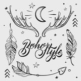 Vector Set of Boho Style Elements. Lettering Calligraphy text. T Stock Photos