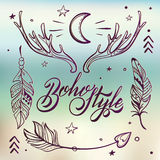 Vector Set of Boho Style Elements, Lettering Calligraphy text Royalty Free Stock Photography