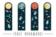 Vector set of bookmarks for children with outer space theme royalty free illustration