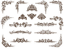 Vector set of borders. Vector set elements for decor. Vintage borders, corners, frames and separators for design books, sites, postcards. Black graphic pattern Royalty Free Stock Photo