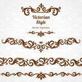 Vector set of borders and vignettes in Victorian style. Royalty Free Stock Photo