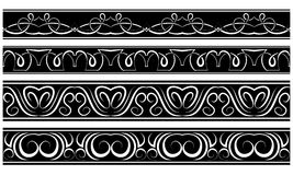 Vector set of borders. White pattern on black Royalty Free Stock Photos
