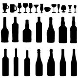 Vector  Set  of Bottles and Steamware Silhouettes Royalty Free Stock Image