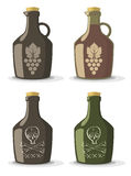 Vector set of bottles for wine or rum. In vintage style Royalty Free Stock Images