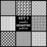 Vector set of boundless geometric patterns. Stock Images