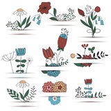 Vector Set of  Bouquets Stock Photography