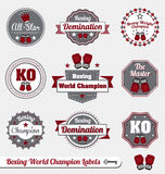 Vector Set: Boxing Champion Labels and Icons. Collection of vintage style boxing world champion labels and icons Royalty Free Stock Image