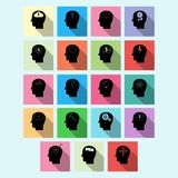 Vector set of brain activity icons with long shadow Stock Photos