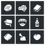 Vector Set of Brain Development Icons.  Stock Photo