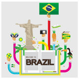 Vector set Brazil jesus Soccer camera pineapple leaves Hornbill Tour Royalty Free Stock Images