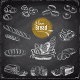 Vector set of bread and bakery products. Vector illustration in sketch style. Hand drawn design elements. Chalkboard Royalty Free Stock Image