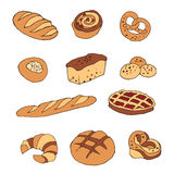 Vector set of bread and bakery products. Vector set of bread and bakery products: pie, pretzel, puncake, muffin , loaf , croissant , cake. Vector illustration royalty free illustration