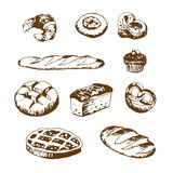 Vector set of bread and bakery products. Vector set of bread and bakery products: pie, pretzel, puncake, muffin , loaf , croissant , cake. Vector illustration vector illustration