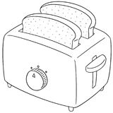 Vector set of bread and toaster. Hand drawn cartoon, doodle illustration stock illustration