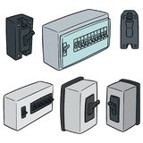 Vector set of breaker switch. Hand drawn cartoon, doodle illustration Royalty Free Stock Photo