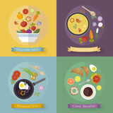 Vector set breakfast time and vegetables with flat icons. Fresh food and drinks in flat style. Healthy food concept vector illustration
