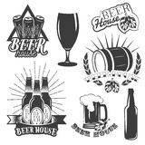 Vector set of brewing labels in vintage style. Pub and craft beer logo. Stock Photos