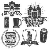 Vector set of brewing labels in vintage style. Pub and craft beer logo. Monochrome color. Stock Photo