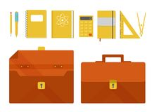 Vector set of briefcase and school supplies Stock Image