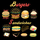 Vector set of bright burgers and sandwiches Royalty Free Stock Images