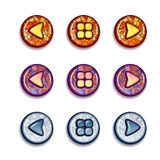 Vector set of bright buttons: forward, backward, Royalty Free Stock Image