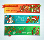 Vector set of bright Christmas horizontal banners. Royalty Free Stock Photography