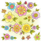 Vector set of bright colorful flowers. Royalty Free Stock Photo
