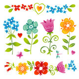 Vector set of bright colorful flowers. Stock Images
