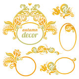 Vector set of bright frame in Victorian style. Ornate element for design. Concept autumn decor. Place for company name and slogan. Floral ornament for business Stock Photos