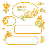 Vector set of bright frame in Victorian style. Ornate element for design. Concept autumn decor. Place for company name and slogan. Floral ornament for business Stock Images