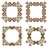 Vector set of bright frames of flowers and butterflies. Stock Image