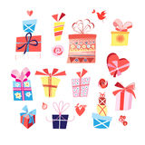 Vector set of bright gifts in boxes. On a white background Stock Images